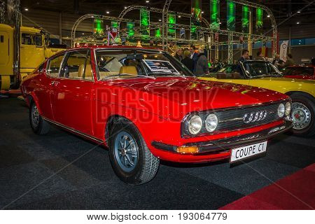 MAASTRICHT NETHERLANDS - JANUARY 15 2016: Vintage car Audi 100 Coupe S 1973. International Exhibition InterClassics & Topmobiel 2016