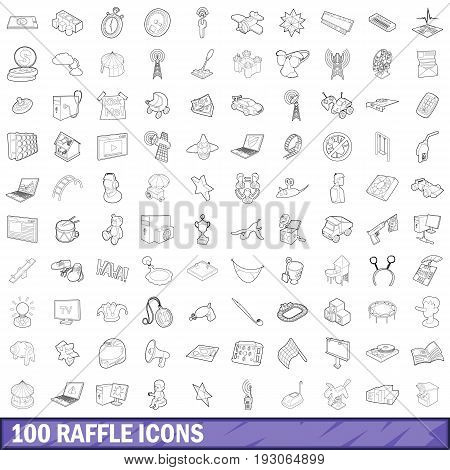 100 raffle icons set in outline style for any design vector illustration