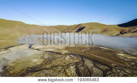 Aerial view of Geysers del Tatio at the Atacama desert, Chile