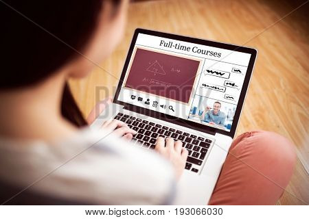 Composite image of full-time courses against asian woman using laptop with copy space