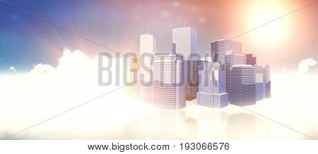 Three dimensional image of modern buildings against idyllic view of sun over clouds during sunny day