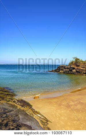 View of the beautiful and famous Azedcinha beach in Buzios with tranparent water Rio de Janeiro