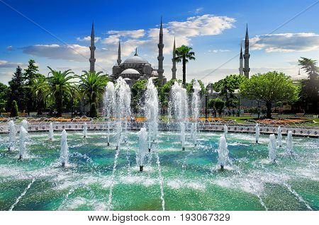 Blue Mosque or Sultanahmet Camii and fountain at sunny summer day in Istanbul, Turkey