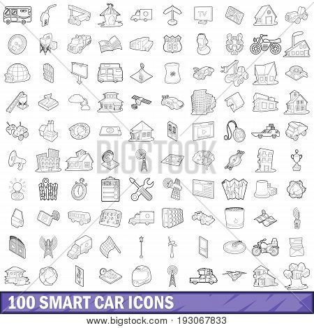100 smart car icons set in outline style for any design vector illustration