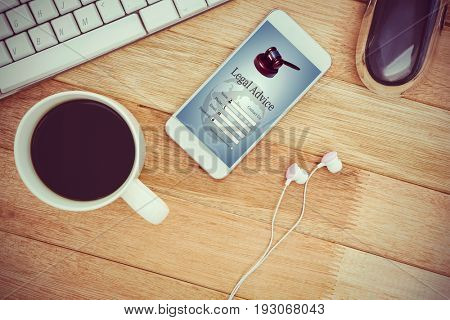 Graphic interface of lawyer contact form  against white smartphone with cup of coffee