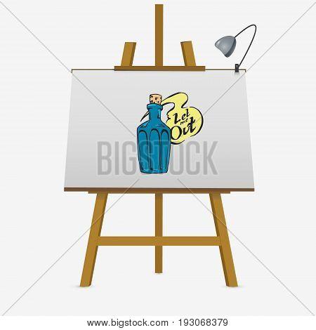 Hand Draw Sketch Of Genie Inside Bottle