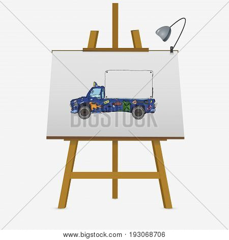 Transport Advertisement Design On Lyre Easel