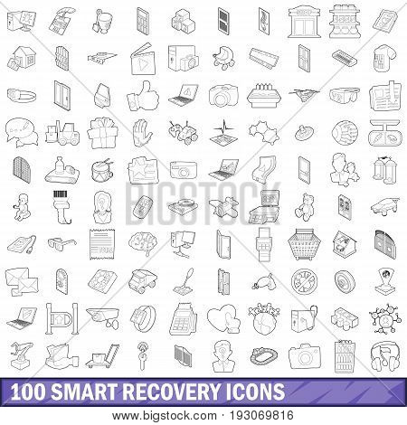 100 smart recovery icons set in outline style for any design vector illustration