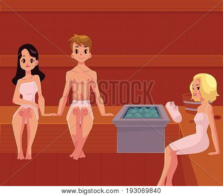 People relaxing in wooden steam sauna, wellness spa treatment, cartoon vector illustration. Young people, man and women sitting in wooden sauna, relaxing in wellness spa, stress relieving procedure
