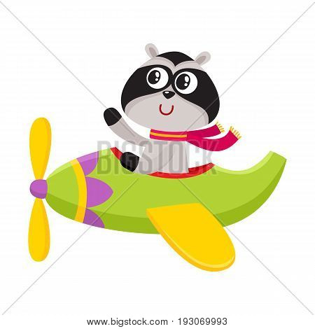 Cute funny raccoon pilot character flying on airplane, cartoon vector illustration isolated on white background. Little baby raccoon pilot, animal character flying in open airplane