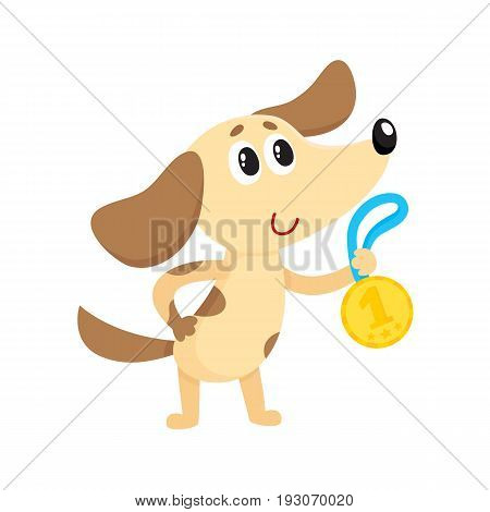 Cute little dog, puppy character, champion holding golden winner medal, cartoon vector illustration isolated on white background. Little baby dog, puppy champion holding medal for taking first place