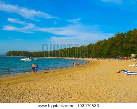Great blue sky and calm Andaman sea on Nai Yang beach in Phuket Thailand