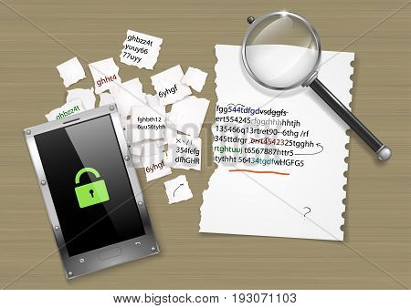 Decryption of the hacker code. Composition with a smartphone torn sheet of paper with a code. Vector graphics