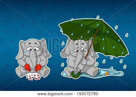 Stickers elephants. Broken heart, sadness, longing. Sits under the umbrella, it's raining. Big set of stickers in English and Russian languages. Vector, cartoon