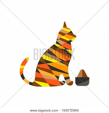 Logo of a pet store silhouette sign of an animal predatory cat with food forage vector illustration and illustration