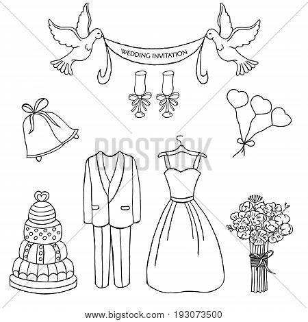 Wedding theme vector pattern. Cute and detailed vector set. Wedding dress bouquet cake champagne and other elements for save the date cards and wedding invitations.