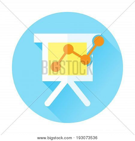 business graph chart presentation flat icon with long shadow