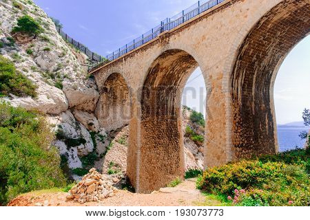 Close up of a railway bridge on the Estaque mountain range on the
