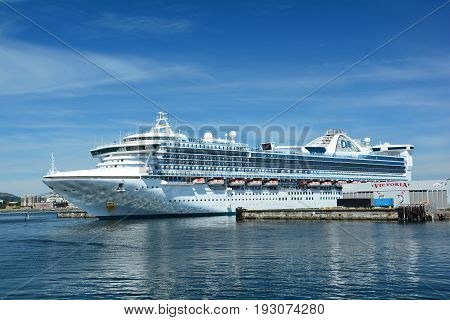 Victoria BC,Canada,June 22nd 2014.A cruise ship is docked at the cruise terminal in Victoria BC.