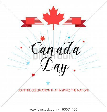 Happy Canada Day! Greeting card, poster, placard, with maple leaf logo, ribbon banner, fireworks, red color of the Canadian flag, lettering. Canada day banner, Holiday, celebration, vector illustration template. Sale gift card