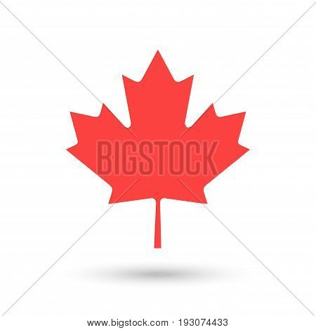 Maple leaf logo, Canadian flag symbol, red color, isolated on white background. Vector illustration for Happy Canada Day! greeting card, poster, banner.Minimal design.