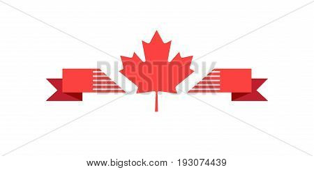 Maple leaf logo with Ribbon banner isolated on white, for Happy Canada Day! Holiday, celebration, icon vector illustration template. Sale gift card