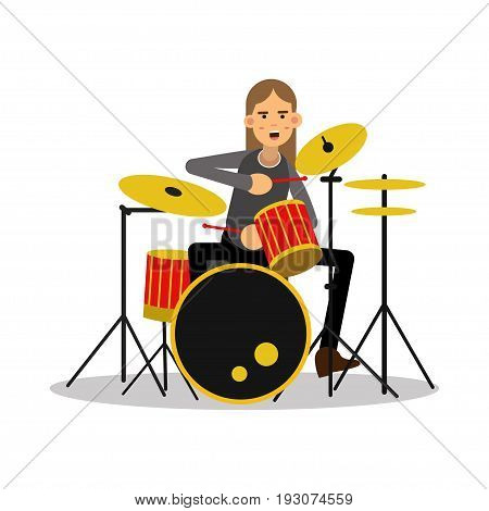 Mucisian man with long hairs playing on drum kit cartoon character vector Illustration isolated on a white background