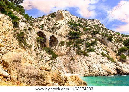 Railway bridge on the Estaque mountain range on the