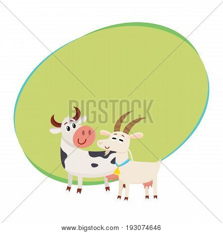 Farm black spotted cow looking at white smiling goat, cartoon vector illustration with space for text. Cute and funny farm goat and cow with friendly faces and big eyes