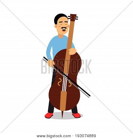Young man playing cello cartoon character, cellist playing classical music vector Illustration isolated on a white background