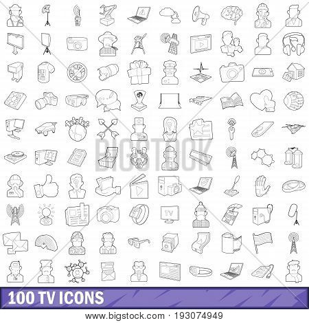 100 tv icons set in outline style for any design vector illustration
