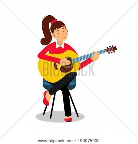 Teenage girl playing an acoustic guitar cartoon character vector Illustration isolated on a white background