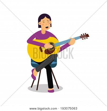 Young woman playing an acoustic guitar and singing cartoon character vector Illustration isolated on a white background