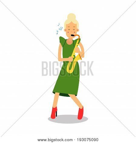 Young woman in green dress playing sax cartoon character, saxophone player vector Illustration isolated on a white background