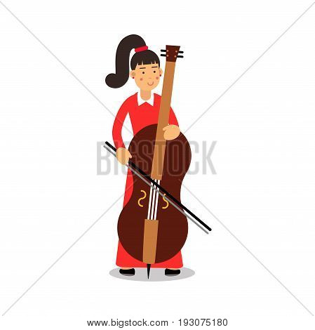 Young woman playing cello cartoon character, cellist playing classical music vector Illustration isolated on a white background