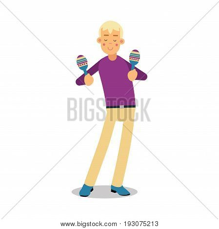 Teenage boy playing on maracas concert cartoon character vector Illustration isolated on a white background
