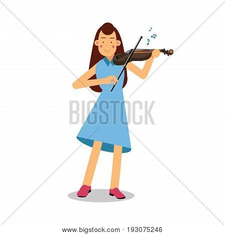 Young woman playing a violin cartoon character, violinist playing classical music vector Illustration isolated on a white background