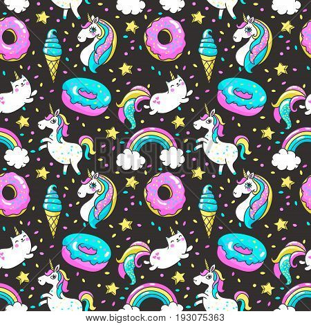 Seamless pattern with unicorns, donuts rainbow, confetti and other elements.Vector background with stickers, pins, patches in cartoon 80s-90s comic style.