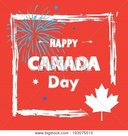 Happy Canada Day! Greeting card, poster, placard, with maple leaf logo, fireworks, red color of the Canadian flag, lettering. Canada day banner, Holiday, celebration, vector illustration template. Sale gift card