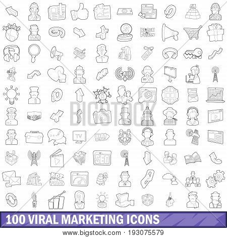 100 viral marketing icons set in outline style for any design vector illustration