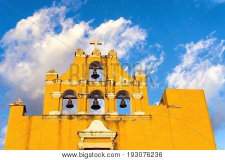 Beautiful Dulce Nombre de Jesus church in Campeche Mexico