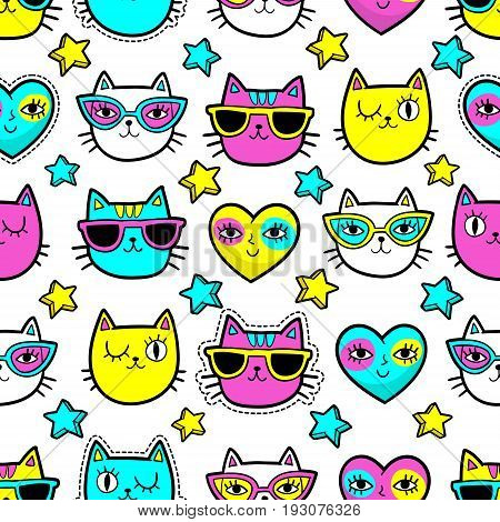 Seamless pattern with fashion patch badges with cats, hearts and stars.Vector background with stickers, pins, patches in cartoon 80s-90s comic style with neon colors.