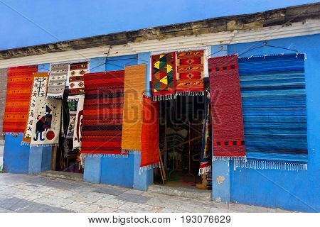 OAXACA, MEXICO - MARCH 4: Colorful rugs for sale in Oaxaca, Mexico on March 4, 2017