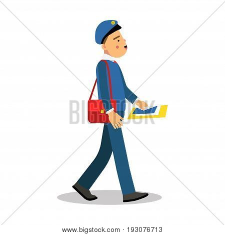 Postman in blue uniform with red bag delivering letters cartoon character, express delivery mail vector Illustration isolated on a white background