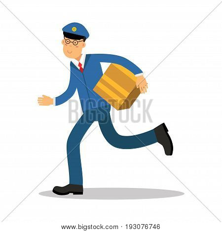 Postman in blue uniform running delivering parcel cartoon character, express delivery mail vector Illustration isolated on a white background