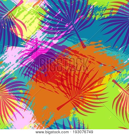 Tropical Summer Pattern Abstract Palm Leaf Art
