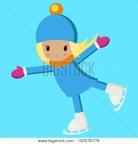 Little girl in warm clothes skating on a rink