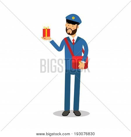 Postman in blue uniform with red bag delivering gift box cartoon character, express delivery mail vector Illustration isolated on a white background