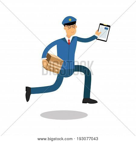 Postman in blue uniform with clipboard running delivering parcel cartoon character, express delivery mail vector Illustration isolated on a white background