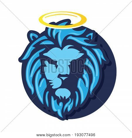 Vector god lion head, combination of blue on the white background, icon lion, illustrator